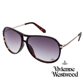 【Vivienne Westwood】英國精品時尚細板雙桿系列造型太陽眼鏡(VW69502-琥珀)