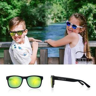 【瑞士SHADEZ】頂級偏光太陽眼鏡 3-16歲 黑框湖水綠(台灣製造 鏡架可彎)