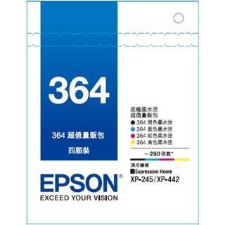 【EPSON墨水1黑3彩組】T364原廠墨水匣組合包/