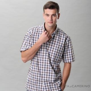【ROBERTA 諾貝達】台灣製 進口素材 純棉時尚設計休閒配色 格紋短袖襯衫(咖啡)