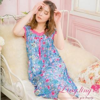 【lingling】PA4054大尺碼-滿版印花蕾絲牛奶絲短袖連身睡衣(獨特藍)