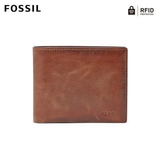 【FOSSIL】Derrick 棕色真皮大零錢袋RFID皮夾 男 ML3687200