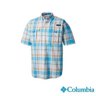 【Columbia 哥倫比亞】男款-防曬UPF30短袖襯衫 - 藍色格紋(UFM71900BC / 防曬.襯衫.釣魚)