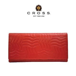 【CROSS】限量1.5折 經典頂級NAPPA小牛皮女用長夾皮夾 福利品特價(紅色 專櫃展示品99%新)