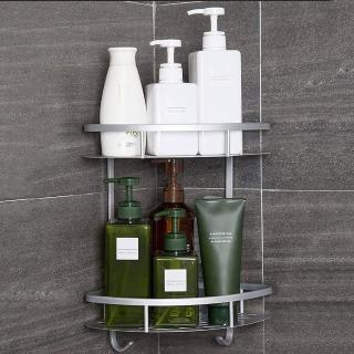 太空鋁免鑽牆  雙層浴室置物架(附6片無痕掛勾)