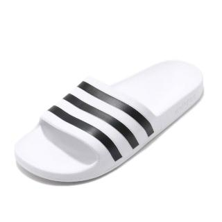 【adidas 愛迪達】拖鞋 Adilette Aqua 男女鞋 愛迪達 休閒 輕量 沙灘鞋 情侶款 白 黑(F35539)