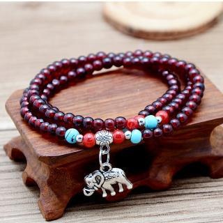 【原藝坊】古典紅石榴手珠+大象吊墜(直徑6mm)
