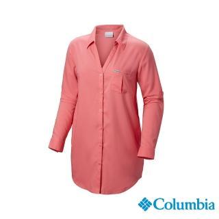 【Columbia 哥倫比亞】女款-防曬UPF40防曬長袖襯衫-粉紅(UFL00660PK / 戶外.透氣.防曬)