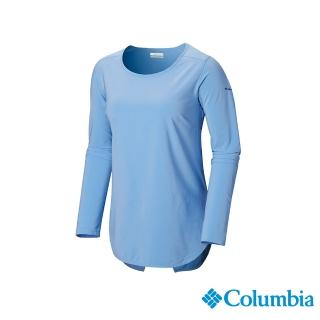 【Columbia 哥倫比亞】女款-防曬UPF30快排長袖上衣-藍色(UAL25390BL / 抗UV.快排.襯衫)