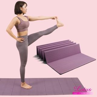 【LOTUS】快速到貨-瑜珈系列 皮拉提斯瑜珈彈力帶+台灣製歐規TPE摺疊瑜珈墊6mm(瑜珈兩件組)