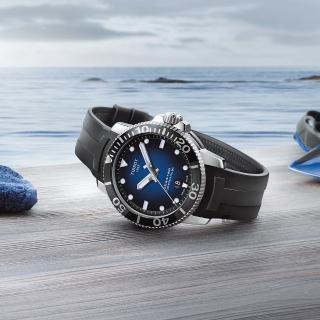 【TISSOT 天梭】Seastar 1000 海洋之星300米潛水機械錶-藍x黑/43mm(T1204071704100)