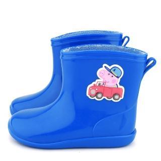 【童鞋城堡】童鞋城堡-粉紅豬小妹 喬治豬 中童 小汽車短筒雨鞋(PG8561-藍)