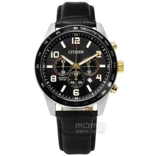 【CITIZEN 星辰】限量 三眼計時 礦石強化玻璃 日期視窗 日本機芯 牛皮手錶 黑色 44mm(AN8166-05E)