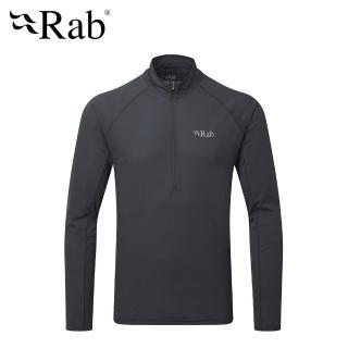 【英國 RAB】Pluse LS ZIP 透氣長袖排汗衣 男款 烏木灰 #QBU77(透氣長袖排汗衣)