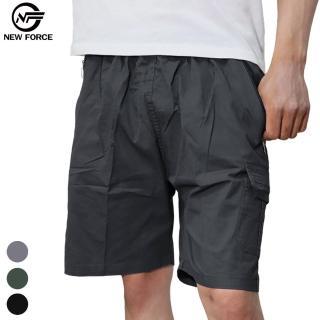 【NEW FORCE】寬鬆舒適多口袋休閒工作短褲(工作褲/ 男短褲/ 多口袋/ 彈性)