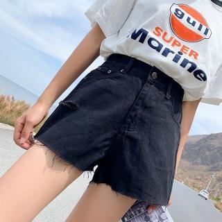 【WHATDAY】夏季寬鬆破洞牛仔短褲L-4XL(共兩色)