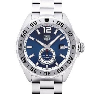 【TAG HEUER 豪雅】F1系列大日曆視窗藍面自動上鍊鍊帶款-43mm(WAZ2014.BA0842)