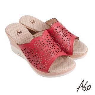 【A.S.O 阿瘦集團】機能休閒 厚底美學沖孔設計楔型涼拖鞋(正紅)