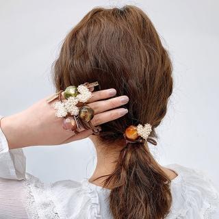 【UNICO】質感色系優雅珍珠2入髮圈/髮飾-琥珀綠+乾燥玫瑰花(配件)