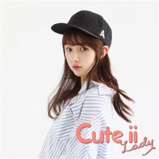【Cute ii Lady】流行韓版A字母造型棒球帽(黑)