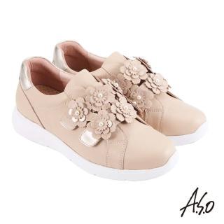 【A.S.O 阿瘦集團】時尚流行 Q彈紓壓花朵魔鬼氈條帶休閒鞋(卡其)