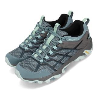 【MERRELL】戶外鞋 Moab FST 2 GTX 女鞋 登山 越野 防水 抗菌防臭 耐磨黃金大底 灰 藍(ML49180)