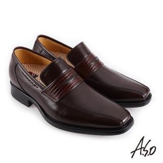 【A.S.O 阿瘦集團】職場通勤 零壓挺力蜥蜴紋樂福紳士鞋(咖啡)