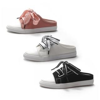 【Ocleather】時尚佳人優雅緞帶懶人帆布鞋(3色可選全尺碼)