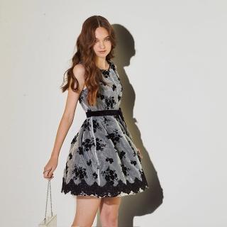 【ICHE 衣哲】雙層設計拼接3D蕾絲雕花造型禮服洋裝-黑