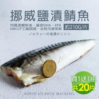 【築地一番鮮買1送1】厚片超大油質豐厚挪威薄鹽鯖魚10片(加贈10片共20片/210G片)/