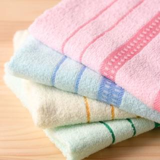 【OKPOLO】台灣製造兩線緞帶吸水毛巾-12入組(純棉家庭首選)