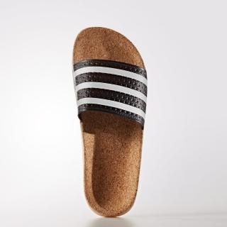 【adidas 愛迪達】ADILETTE CORK 軟木塞 拖鞋 黑色白線 義大利製(BA7211)
