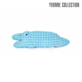 【Yvonne Collection】鱷魚造型短抱枕(藍格紋)