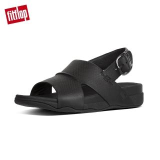 【FitFlop】BANDO BACK STRAP SANDALS IN PERFORATED LEATHER柔軟皮革後帶涼鞋-男(黑色)