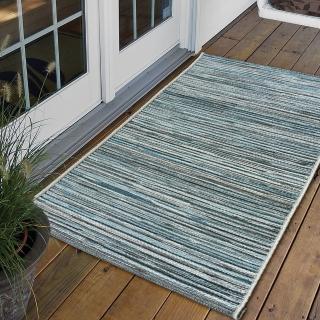 【Ambience】比利時Brighton 玄關/門口平織地毯(淺藍 60x110cm)