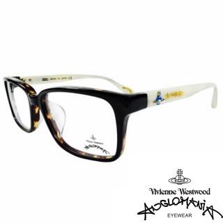【Vivienne Westwood】ANGLO MANIA系列-亮眼配色光學眼鏡(AN281-02-咖琥珀&白)