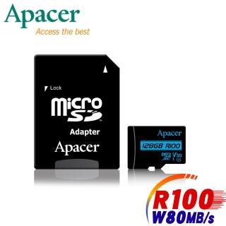 【Apacer 宇瞻】128GB MicroSDXC R100/W80MB UHS-I U3(V30 4K記憶卡-速達)