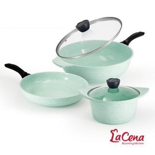 【韓國LaCena】翡翠陶瓷不沾鍋三鍋五件組(炒鍋+湯鍋+平底鍋+鍋蓋*2)