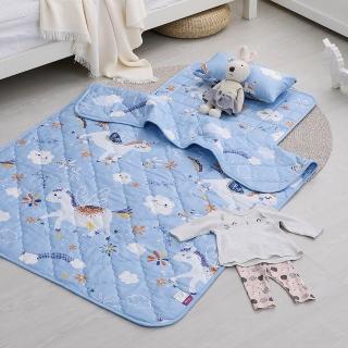 【IN HOUSE】兒童睡墊涼被組-快樂獨角獸(藍)
