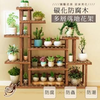 【Effect】園藝造景防腐多層落地實木花架/