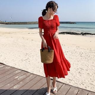 【維拉森林】魅艷紅木耳滾邊方領露背彈性收腰顯瘦公主風洋裝S-XL