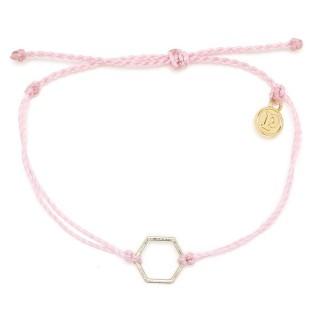 【Pura Vida】美國手工 金色六角形 粉色臘線衝浪手鍊手環(金色 六角形 粉紅色臘線)