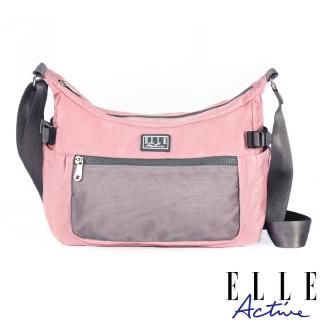 【ELLE active】透視網布系列-側背包/斜背包-大-粉紅色