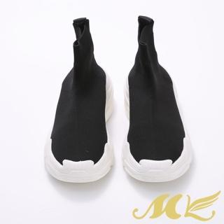 【MK】MOMO簡約素色布面襪套縮口厚底短靴(素色布面襪套縮口厚底短靴)