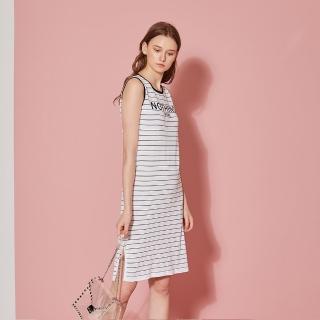 【ICHE 衣哲】輕時尚針織條紋字母印花洋裝-兩色-沁白