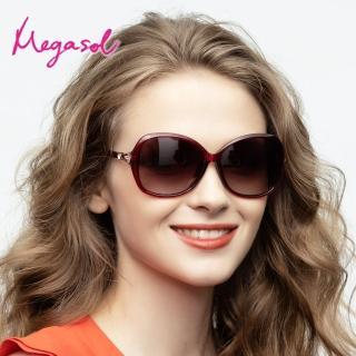 【MEGASOL】UV400防眩偏光太陽眼鏡時尚女仕大框矩方框墨鏡(精緻水鑽簍空古典鏡架1829-5色選)