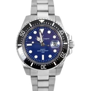 【Valentino Coupeau】黑框藍面不鏽鋼石英錶