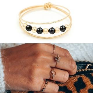【YAY You Are Young】法國品牌 Riviera 黑瑪瑙戒指 金色三層款 蔚藍海岸(黑瑪瑙)