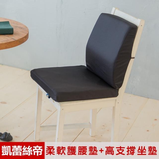 【凱蕾絲帝】台灣製造-久坐良伴柔軟記憶護腰墊+高支撐坐墊兩件組(黑色)/
