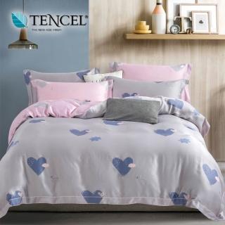 【貝兒居家寢飾生活館】100%天絲七件式兩用被床罩組 吉米灰(雙人)
